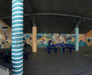 An open-air art gallery